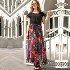 2014 Spring and summer flower print faux two piece chiffon maxi full dress with big swing Plus Size $26.99