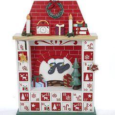 Kurt Adler Wooden Christmas Advent Calendar Chimney with Ornaments   eBay
