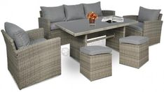 Zestaw technorattanowy obiadowy z pufami STELVIO Caffe Outdoor Furniture Sets, Outdoor Decor, Corfu, Grey, Home Decor, Gray, Interior Design, Home Interior Design, Home Decoration