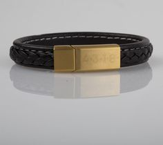 Stunning Personalised Leather Bracelet, with Magnetic Gold-plated Clasp.   Classy, modern, and comfortable to wear; you will always have a trendy look wearing it.  Can be personalised with an engraved message up to 20 Characters.
