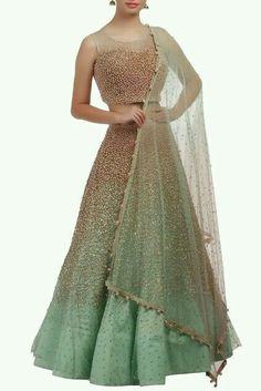 Buy Ice-blue embellished lehenga by Monika Nidhii at Aza Fashions Indian Wedding Outfits, Bridal Outfits, Indian Outfits, Bridal Dresses, Eid Outfits, Party Dresses, Wedding Reception Outfit, Reception Dresses, Indian Gowns Dresses