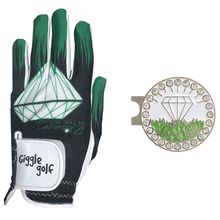 The Diamond In The Rough Glove Pack has a Diamond In The Rough Golf Glove with your choice of a Bling White Diamond In The Rough Ball Marker & Standard Hat Clip OR Bling White Diamond In The Rough Ball Marker Necklace. Comes in a cute little mesh bag.