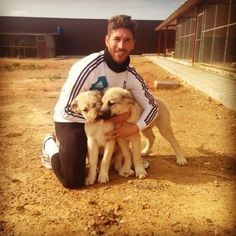 Sergio Ramos with puppies. isn't this just cute! :D