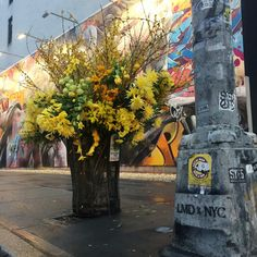 Floral Designer Transforms NYC Trash Cans Into Bountiful Bin - Artist turns nyc trash cans into giant flower filled vases
