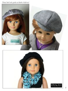 Newsboy and Beret Hat 18 inch Doll Accessories PDF Pattern Download | Pixie Faire