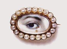 A Splendid miniature eye portrait from Victoria and Albert Museum, with a diamond teardrop (Eye Candy, The Ornamentalist) Victoria And Albert Museum, Memento Mori, La Danse Macabre, Antique Jewelry, Vintage Jewelry, Lovers Eyes, Miniature Portraits, Miniature Paintings, Mourning Jewelry
