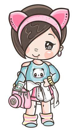 Kawaii Drawings, Disney Drawings, Cute Drawings, Kawaii Chibi, Anime Chibi, Clown Party, Cute Girl Drawing, Cute Cartoon Girl, Dibujos Cute