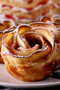 Apple Roses Recipe with Frozen Puff Pastry, Apricot Preserves, Sugar, Cinnamon, Egg, and Powdered Sugar