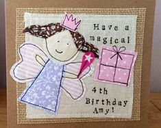 Unique Personalised Child's Fairy Card, Age Card, Girls Birthday Card, Made to Order Card Freehand Machine Embroidery, Free Motion Embroidery, Fabric Cards, Fabric Postcards, Hobbies To Try, Hobbies That Make Money, Emo, Piercings, Stitch Drawing