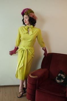 Vintage 1940s Dress  Rare Incredible Chartreuse Silk by FabGabs