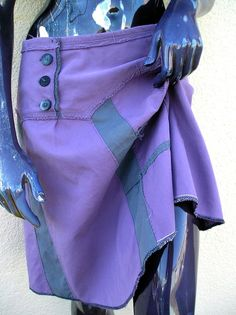 Purple Asymmetrical Upcycled Skirt in Lilac and Elephant by JulieMarieSink, $58.00