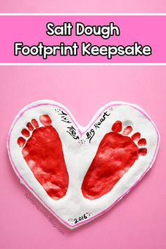 Make a heart-shaped Valentine's Day Salt Dough Keepsake with footprints! Include the cute saying, 'Tiny Toes Big Heart' - display in home or give as a gift. Fingerprint Crafts, Footprint Crafts, Valentine Day Love, Valentine Day Crafts, Valentine's Day Crafts For Kids, Summer Crafts, Thanksgiving Projects, Valentine's Cards For Kids, Handprint Art