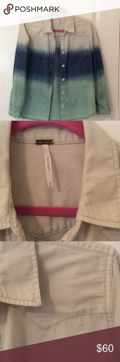 Free People Button Down Jean Shirt Gently worn, Free People Button Down Jean Shirt.  Beige, green and blue.  Really nice and comfy.  100% cotton.  Size M Free People Tops Button Down Shirts