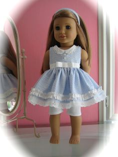 Seersucker Dress made to fit  18 inch American Girl by MenaBella, $25.95