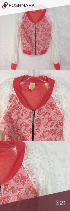 Coral zip up lace jacket. Zip up bomber lace jacket. 96% Nylon 4% Spandex. It is a beautiful ivory with coral cuffs and hems. It is a zip up. Very lightweight fabric. Perfect for this summer. High quality. #006 Si Style Jackets & Coats