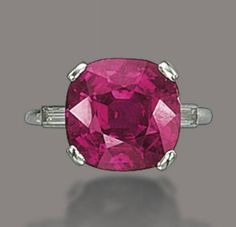 A RUBY AND DIAMOND RING   Set with a cushion-shaped ruby to the baguette-cut diamond shoulders, ring size 7½, with French assay mark for platinum
