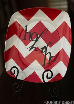 DIY Spray painted chevron plate - find plates to use for this cute project at Goodwill!