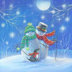 / Christmas Card Images, Christmas Scenes, Very Merry Christmas, Vintage Christmas Cards, Christmas Pictures, Christmas Snowman, Winter Christmas, Christmas Time, Xmas