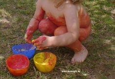 Bodypaint für Kleinkinder aus abgelaufenem Yoghurt