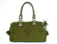 Dark Green Crocheted Handbag handbag Celebrity Style by Sudrishta, $105.00