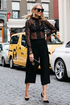Black culottes outfit for a night out