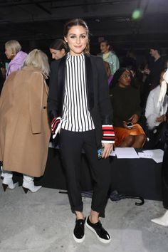 Olivia Palermo attends the Tibi front row during New York Fashion Week The Shows at Pier 17 on February 11 2018 in New York City