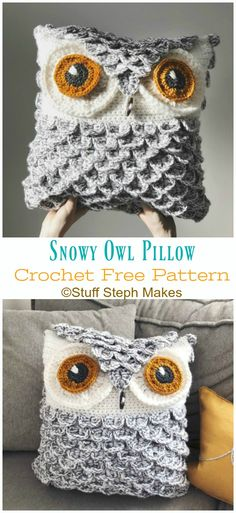 Home Decor Styles Huggable Owl Pillow Crochet Free Patterns.Home Decor Styles Huggable Owl Pillow Crochet Free Patterns Owl Crochet Patterns, Crochet Owls, Crochet Motifs, Crochet Cushions, Crochet Home, Crochet Crafts, Knit Crochet, Knitting Patterns, Owl Patterns