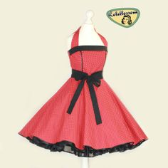 50's vintage dress full skirt red black white polka dots perfect for a petticoat Tailor Made