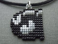 Handmade Seed Bead Pixelated Bullet Bill Necklace - Video Game Jewelry - Nintendo Jewelry - Super Mario - 8 Bit - Miniature Pixel Art