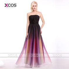 >> Click to Buy << Gradient Prom Dress Strapless Ombre Evening Gown Long 2016 New Fashion Cheap Couture Dresses Pleat Vestido De Festa Longo SA342 #Affiliate