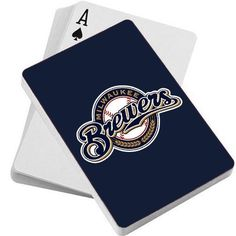 MLB Milwaukee Brewers Playing Cards by PSG. $6.34. MLB Team logo playing cards. Standard size playing cards feature 52 playing cards and 2 jokers. Each deck has your favorite team's logo on full color on the reverse side.