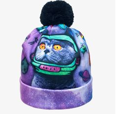2017 Animal Print Women Hats Autumn and Winter Cap Multi Colors Unisex Hat Fashion Lady Hats Ball Pom Skully Beanies Beanie Hats, Beanies, Snapback Hats, Galaxy Cat, Cat Hat, Space Cat, Unisex Fashion, Colorful Fashion, Hats For Women