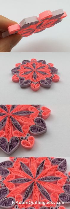Snowflakes Neon Pink Purple Christmas Tree Decor Winter Ornaments Gift Toppers Fillers Office Corporate Paper Quilling Quilled Handmade Art