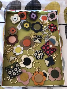 Orla Kiely Accessories - petal flower attachment, keyrings