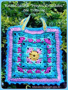 """Bolsa """"Pontos Cruzados"""" (Crochet Rag Bag) : Gráfico no meu blog (Graph on my blog)"""