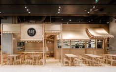 Onion's solid ash and plywood restaurant interior in Bangkok Kiosk Design, Cafe Design, Retail Design, Store Design, Japanese Restaurant Interior, Restaurant Interior Design, Bangkok, Food Court Design, Espace Design