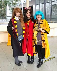 Pin for Later: 30+ Harry Potter Group Costume Ideas For Anyone Trying to Forget They're a Muggle Hermione, Gryffindor Quidditch Player, and Hufflepuff Quidditch Player
