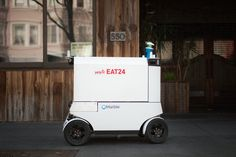 The future of meal delivery is here, America. Yelp has teamed up with autonomous ground-delivery robot maker Marble to create its first fleet of meal delivery robots. Mobiles, Robot Chassis, China Technology, Delivery Robot, Cleaning Cart, Advanced Robotics, First Fleet, San Francisco Neighborhoods, San Francisco Food