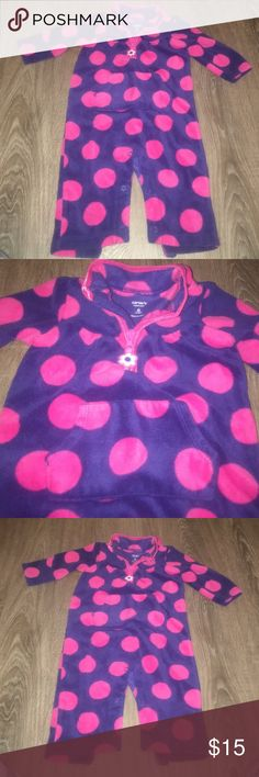 Carters Fleece One Piece outfit Navy/pink poka dots one piece Fleece. Super warm & Cozy with cute lil zipper & pocket.  From a pet/smoke free home. Great condition, washed, like new. Bundle & save Carter's One Pieces