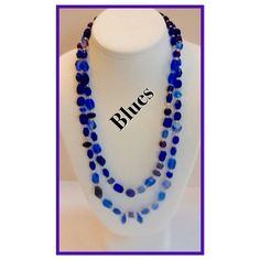 """Blue Beads 22"""" long with no closure. Can be worn in a variety of different ways.  The shades of blue run the gamut of very light to royal blue. Some beads have a purplish tint. Jewelry Necklaces"""