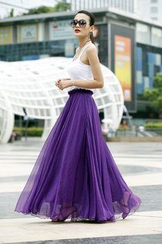 Chiffon Maxi Skirt Strapless