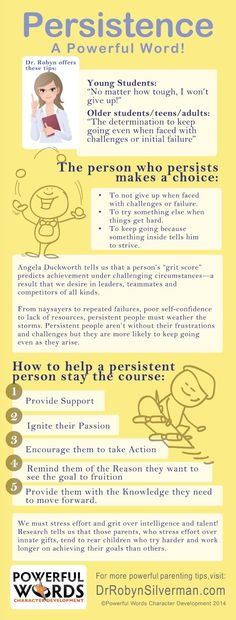 #Persistence is the #powerful word of the month! Visit http://www.drrobynsilverman.com/ for more parenting tips