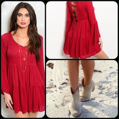 Wine Boho Top This woven top features V neckline, long bell sleeves , crochet detail with tie back. Fully lined. Self: 100% Polyester Lining: 100% Polyester Super cute top can also be worn as a dress. (This closet does it trade or use PayPal) Shop the Trends Tops Tunics