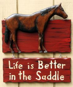 Horse Sign  Hand carved and painted. Life is by RusticLodgeDecor, $50.00