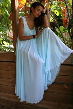 Breakfast at Tiffany's Something Blue Full Sweep Angelic Nightgown by SarafinaDreams on Etsy