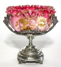 Lot: English enameled bride's bowl on stand, melon ribbed, Lot Number: 0300, Starting Bid: $150, Auctioneer: Early Auction Company, Auction: Early's Summer Art Glass Auction, Date: July 22nd, 2016 EDT
