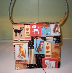 Serena Project Bag  featuring an adorable dog print - for knitting or crocheting by DianaCouture, $30.00