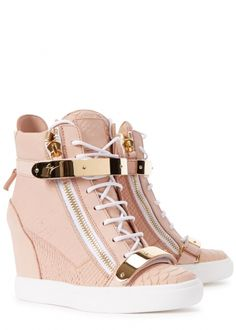 Womens Wedge Trainers Giuseppe Zanotti Lorenz Donna Rose Wedge Hi-top. Womens Fashion Sneakers, Womens Shoes Wedges, Fashion Boots, Women's Fashion, Fancy Shoes, Pretty Shoes, Womens Wedge Trainers, Kawaii Shoes, Aesthetic Shoes
