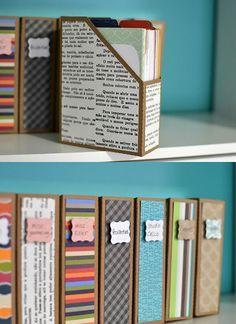 DIY: archivadores de cartón forrados de papel