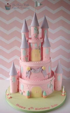 Pink Princess Castle Cake - Pink Princess Castle Cake Two tiers of vanilla sponge, with a castle topper. There is extra room on the board for the customer's own princess figures. Elements of it are inspired by Royal Bakery. Rapunzel Birthday Cake, Castle Birthday Cakes, Rapunzel Cake, Castle Cakes, Disney Princess Castle, Disney Princess Birthday, Pink Princess, Princess Cakes, Disney Castle Cake